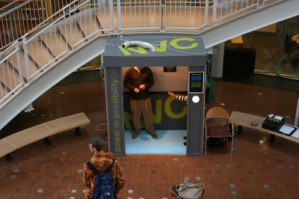 The NVC idea elevator was located on the ground floor of Lillis, a campus building that holds the majority of the University's business classes