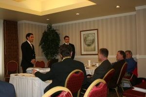 Andrew Charnik and Jeff Richman of the ReLive Team pitch their plans during the Semifinal Round of NVC